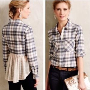 Anthropologie Holding Horse Plaid Flannel Shirt M